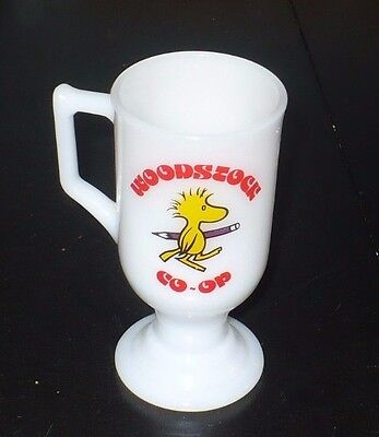 Vintage Peanuts Woodstock Co - Op Milk Glass Mug, No Chips Or Scratches