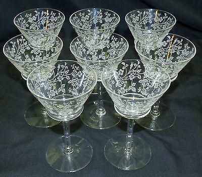 Set of 8 Antique Floral Etched Glass Port Wine Sherry Stems Bramble Wild Roses
