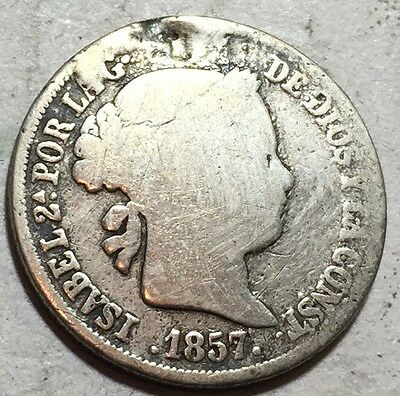 Spain . 1857 . 2 Real . Silver.