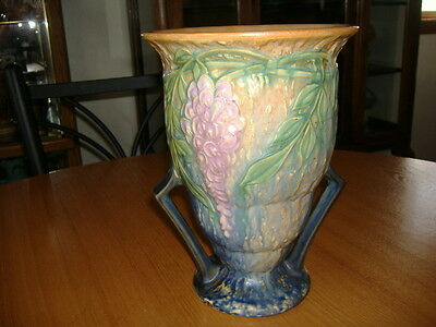 "Vintage AUTHENTIC 1933 ROSEVILLE WISTERIA 681-9 BLUE BOTTOM 9"" Pottery Vase LQQK"