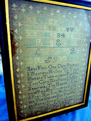 18th Century American Sampler ~ Dated 1796 ~ Lucy Leach, MA  ~ 10  Years Old