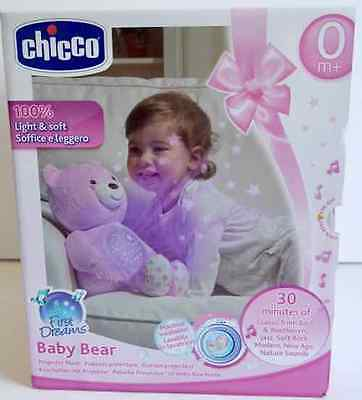 Chicco First Dreams Baby Bear Projector + Musical Plush Bear (Pink) 0+ Mths *new