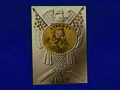 Antique Embossed 4 of July Postcard-Liberty Gold Coin 1776-Eagle-Stars-Fireworks