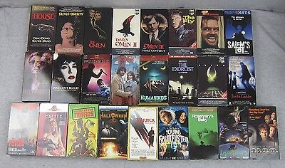 Lot of 25 Horror VHS Movie Tapes The Fly Omen Shining House Exorcist Carrie