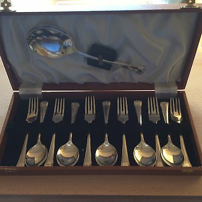 "Set Of Six Silver Plated EPNS Dessert/Fruit Forks ""FIVE"" Spoons & Serving Spoon"