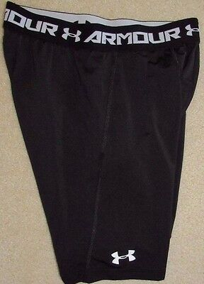 Black UNDER ARMOUR Fitted Heat Gear Baseball Slider SHORTS Boy's Large 14 16