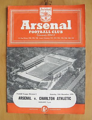 ARSENAL v CHARLTON ATHLETIC 1954/1955 *VG Condition Football Programme*