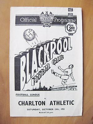 BLACKPOOL v CHARLTON ATHLETIC 1951/1952 *Good Condition Football Programme*