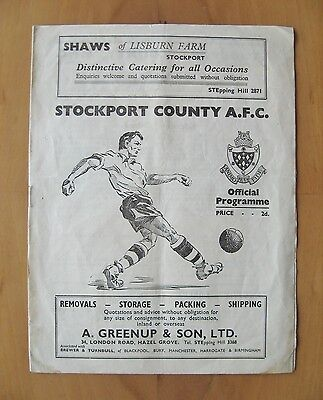 STOCKPORT COUNTY v HALIFAX TOWN 1951/1952 *Good Condition Football Programme*