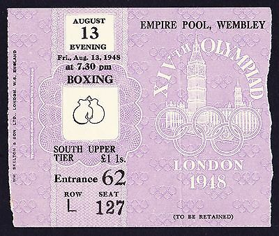 1948 London Olympics Boxing Finals Ticket 13th August *Good Condition*
