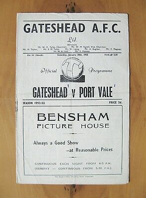 GATESHEAD v PORT VALE 1952/1953 *Good Condition Football Programme*