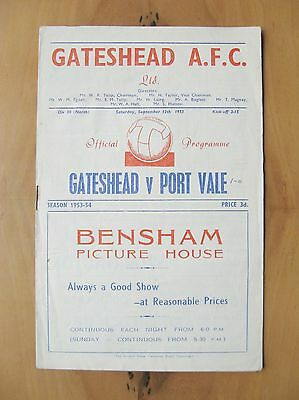 GATESHEAD v PORT VALE 1953/1954 *VG Condition Football Programme*