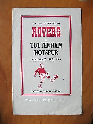 DONCASTER ROVERS v TOTTENHAM HOTSPUR FA Cup 1955/1956 VG Cond Football Programme