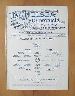 CHELSEA - Practice Match Friendly 1934/1935 (11th August) *Good Cond Programme*