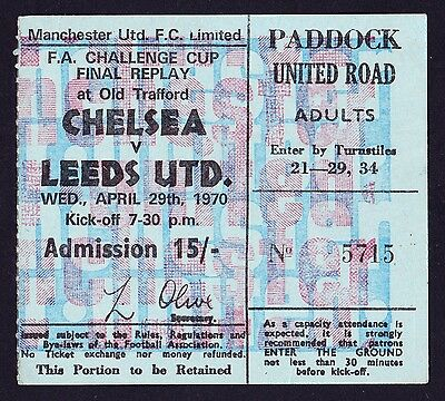 1970 FA Cup Final Replay CHELSEA v LEEDS UNITED *VG Condition Ticket*