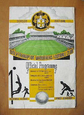 WOLVES v PORTSMOUTH 1947/1948 *VG Condition Football Programme*