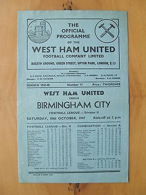 WEST HAM UNITED v BIRMINGHAM CITY 1947/1948 *VG Condition Football Programme*
