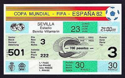 1982 World Cup BRAZIL v NEW ZEALAND *Excellent Condition UNUSED Original Ticket*