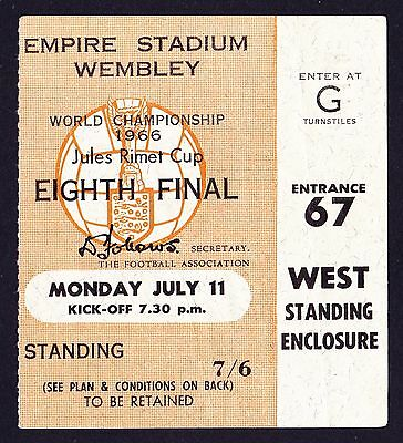 1966 World Cup ENGLAND v URUGUAY *Good Condition Ticket*