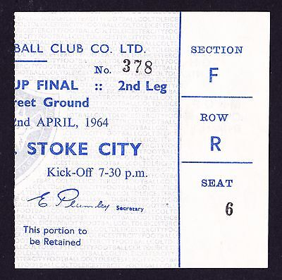 LEICESTER CITY v STOKE CITY League Cup Final 1964 *Excellent Condition Ticket*