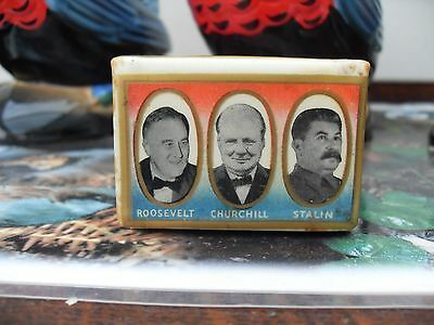 A 1940's ROOSEVELT,CHURCHILL and STALIN CELLULOSE MATCH HOLDER