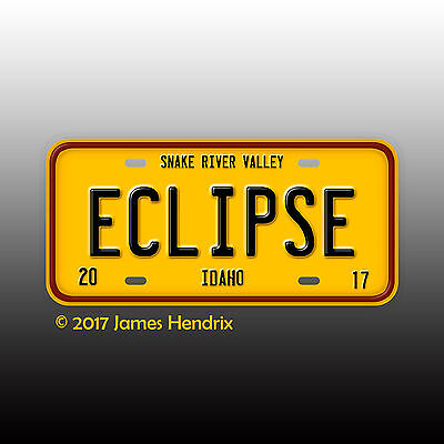 Total Solar Eclipse 2017 Snake River Valley Idaho  ID Custom License Plate