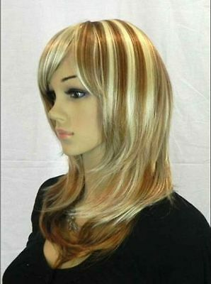 New lady women long Vogue Blonde Fashion Wavy hair Wig + wigs cap