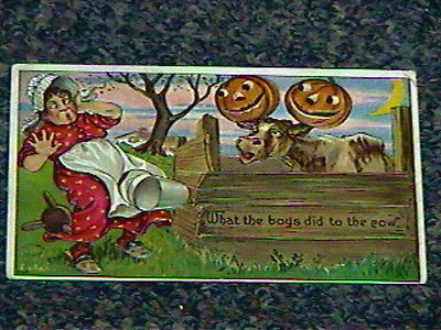 1910 Fun Antique Halloween Postcard-Woman Frightened by JOLs on Cow Horns