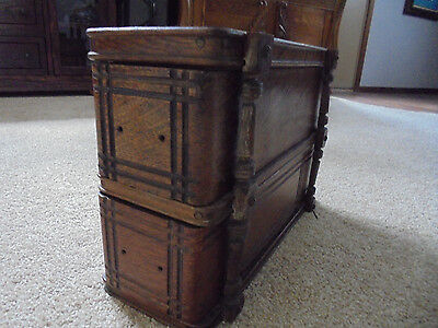 Two Antique Wood Sewing Machine Drawers in Rack Frame