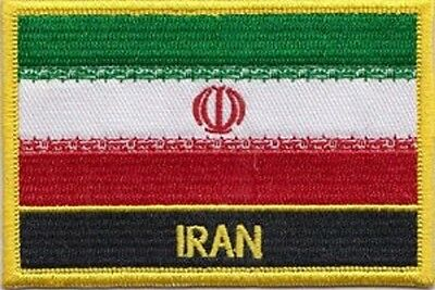 IRAN Flag Embroidered Iron-On Patch Military Shoulder Emblem Red Border #051