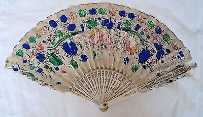 ANTIQUE CHINESE c1900 PAINTED FEATHER FAN - PEACOCK DESIGN