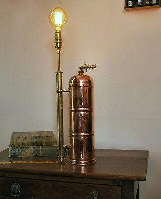 Fire extinguisher rivited copper Lamp, industrial/ steam punk/ french/ hand made