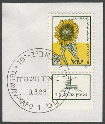 Israel, 1988 Sunflower - No Value Definitive. SG 1043 Fine Used on Piece