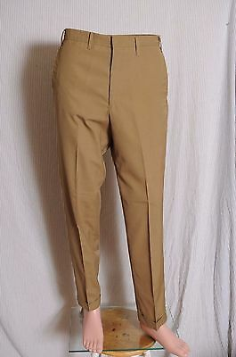 Vtg '60s Men's Olive Koratron flat front  drop loop cuffed tapered pants 31X 31