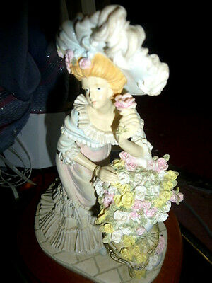 big heavy figurine SARA LOUISE OF THE LEONARDO COLLECTION. Lady with flowers