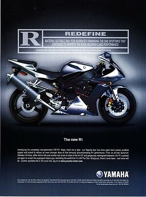 "2003 Yamaha YZF-R1 Motorcycle photo ""R=Redefine"" promo print ad"