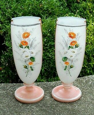 "Bristol Vases Pair Large 12"" Pink Hand Painted Floral Art Glass Victorian"
