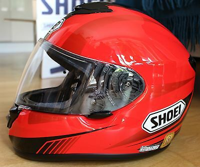 Shoei Qwest Gloss Helmet Large Red Black Motorbike Motorcycle