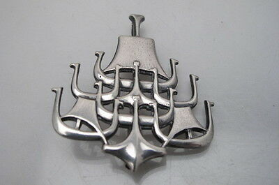 Vintage David Anderson Sterling Silver Viking Ship Brooch Pendant Norway