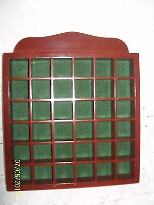 (D) Dark Wood Thimble Holder Display Case For 36 Thimbles Or Whimsies Green Felt