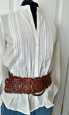 FOSSIL Genuine Leather Belt with Brass Buckle & Studs Tiki Tan HIPSTER Mod