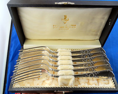 "ANTIQUE FORK SET 800 SILVER JEZLER SWITZERLAND 7"" 17.6 cm LOT OF 6 OLD CASE"