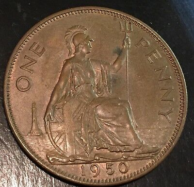 GB . King George VI . 1950 Penny . With Some Lustre.