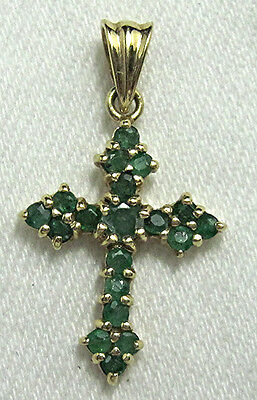 10k Yellow Gold Emerald Cross Signed JCM Necklace Pendant  BE261