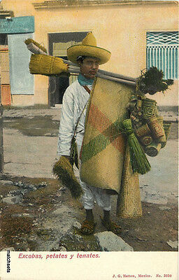 C-1910 MEXICO Broom Basket Vendor Occupation postcard 1333