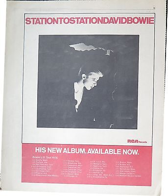 """David Bowie """"Station to Station"""" US tour full-page US ad 1976 ~ Bonus x 2"""
