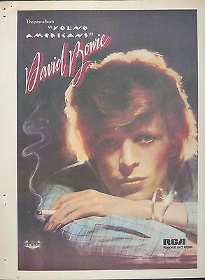 """David Bowie """"Young Americans"""" album 1975 full-page ad US"""