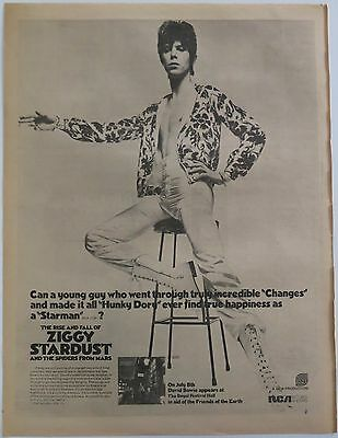 "David Bowie ""Ziggy Stardust"" Royal Festival Hall full-page UK ad 1972 + Bonus"