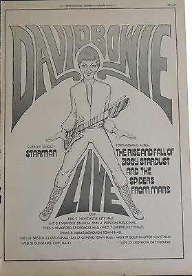 "David Bowie ""Ziggy Stardust"" tour ""Starman"" 45 full-page UK ad 1972 + Bonus BW"