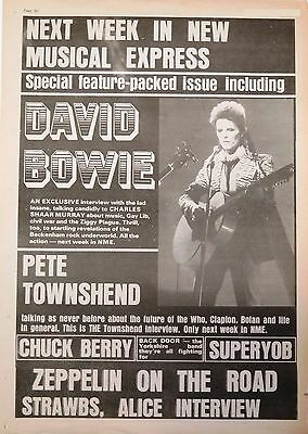 David Bowie NME ad UK 1973 Pete Townshend Led Zeppelin Alice Cooper